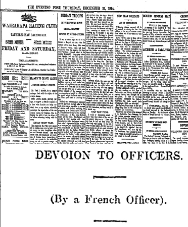 Newspaper clipping from The Evening Post, Thursday December 31, 1914 - Part 1