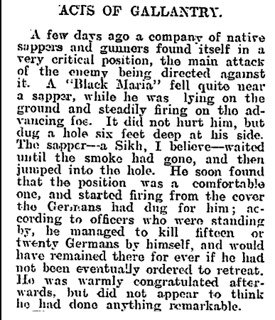Newspaper clipping from The Evening Post, Thursday December 31, 1914 - Part 4