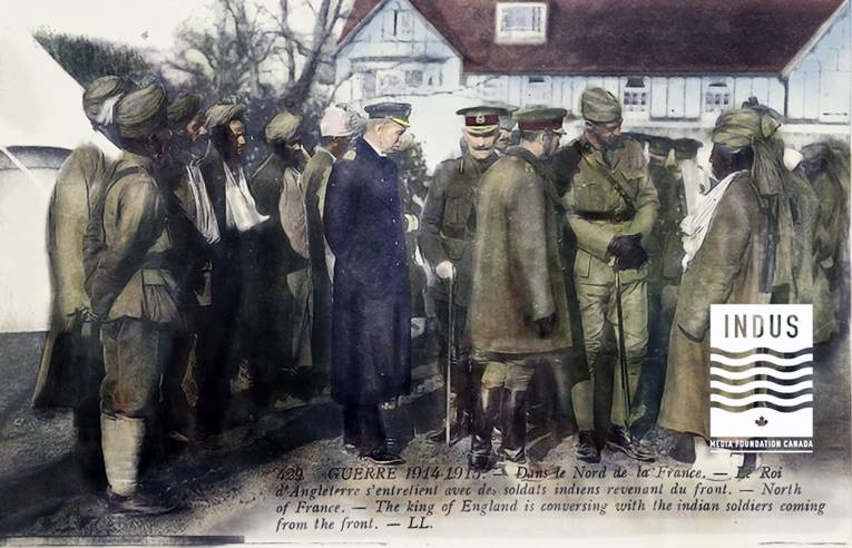 King George V visits Indian Soldier on the Front in France (IMFC.org collection)