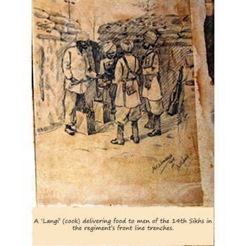 A 'Langi' (cook) delivering food to men of the 14th Sikhs in the regiment's front line trenches.
